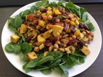 Arbeit_Kichererbsen-Bohnen-Salat mit Curryhuhnwürfel