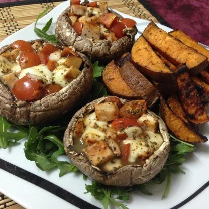 Dinner_Gefüllte Portobellokappen mit Süßkartoffelecken
