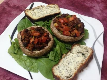 Dinner_Portobellos & Chiasamenbrot