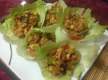 Dinner_Salat-Wraps mit Putenhack