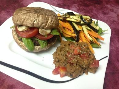 Vegetarisch_Portobelloburger mit Hummus & VeggiesFries