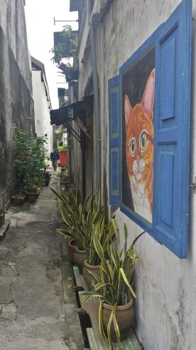 Straßenkunst Cat
