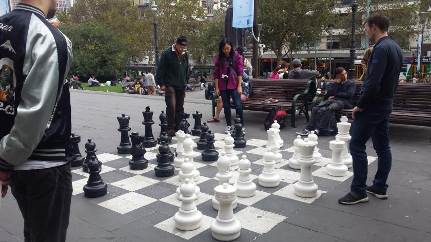 Schachspieler vor der State Library Victoria